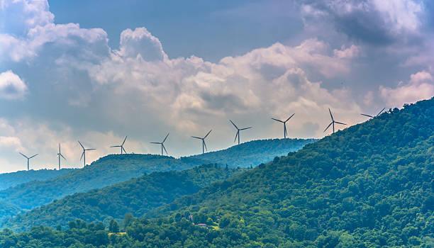 Windmills in the mountains near Keyser, West Virginia. stock photo