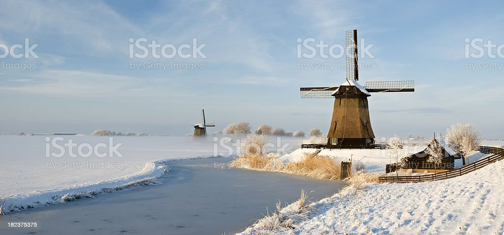 Windmills in Winter royalty-free stock photo