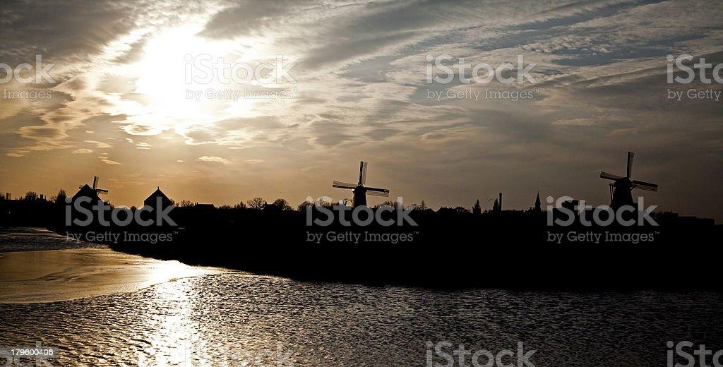 Windmills in Zaanse Schans museum royalty-free stock photo