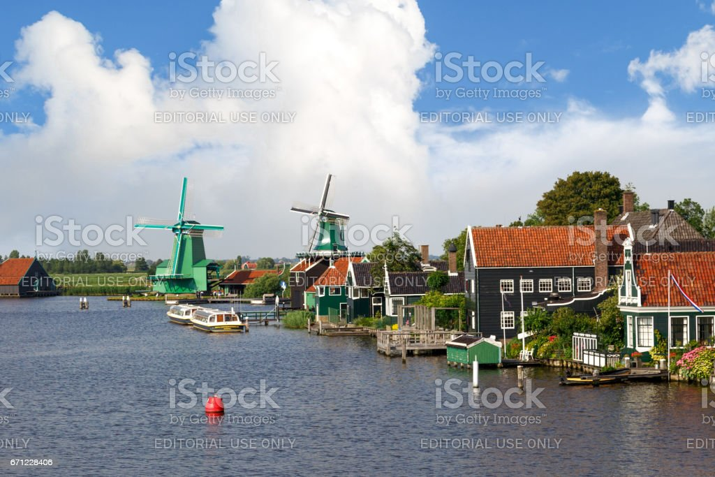 Windmills in Zaanse Schans stock photo