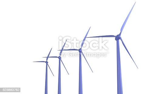 Windmills rising like bar graph 3d render