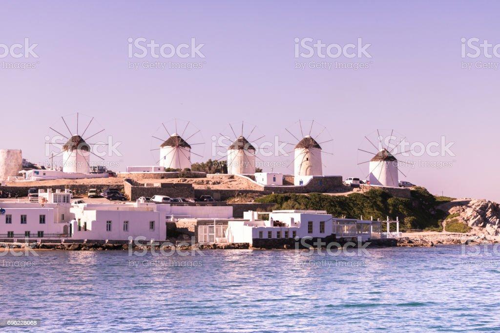 Windmills Mykonos greece island stock photo
