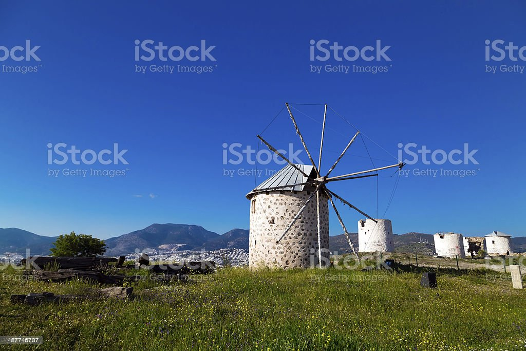 Windmills of Bodrum, Turkey stock photo