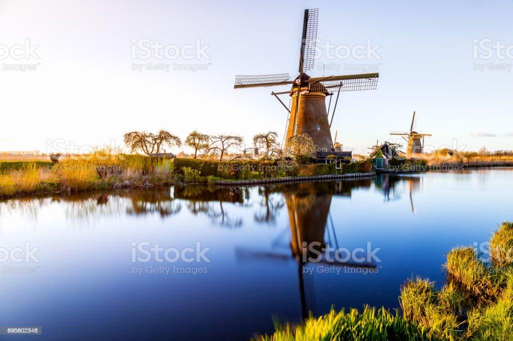Windmills of Kinderdijk near Rotterdam stock photo