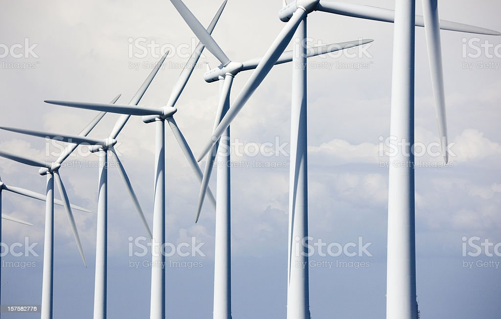 Windmills off shore stock photo
