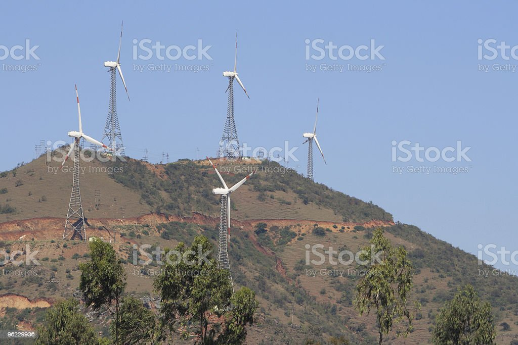 Windmills on a hill in India royalty-free stock photo