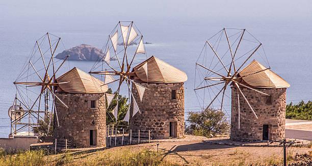Windmills on Patmos stock photo