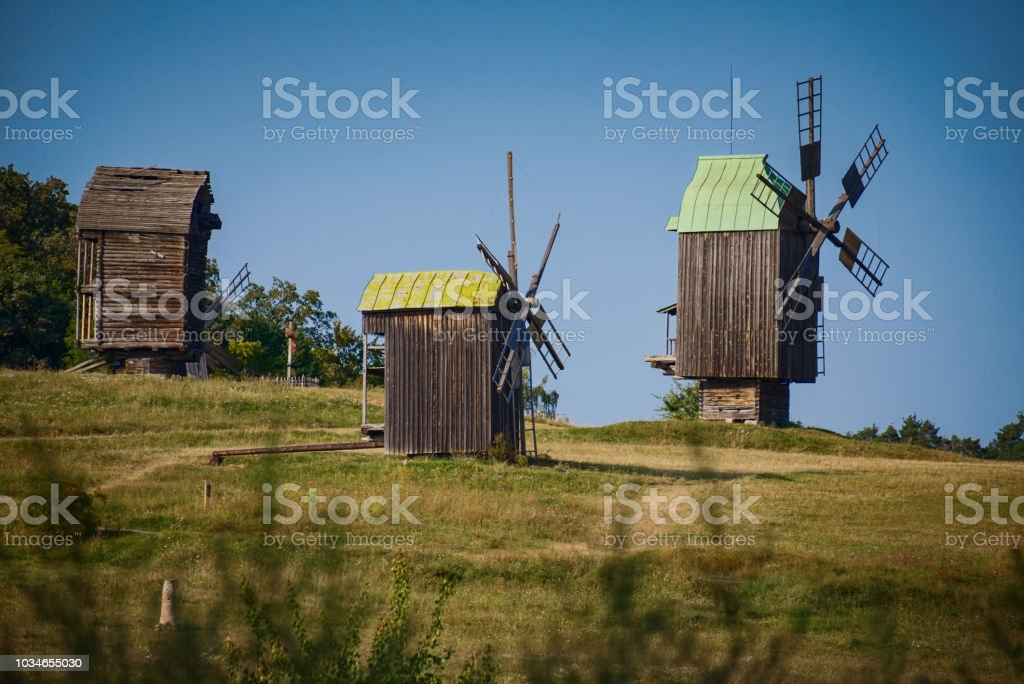 Windmills on picturesque hills stock photo