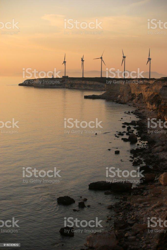 windmills on Polente hill stock photo