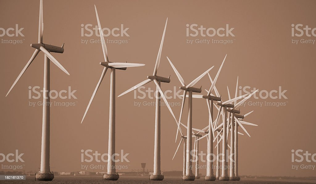 Windmills or global warming stock photo