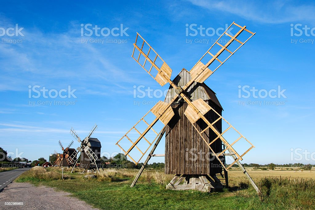 Windmills row stock photo