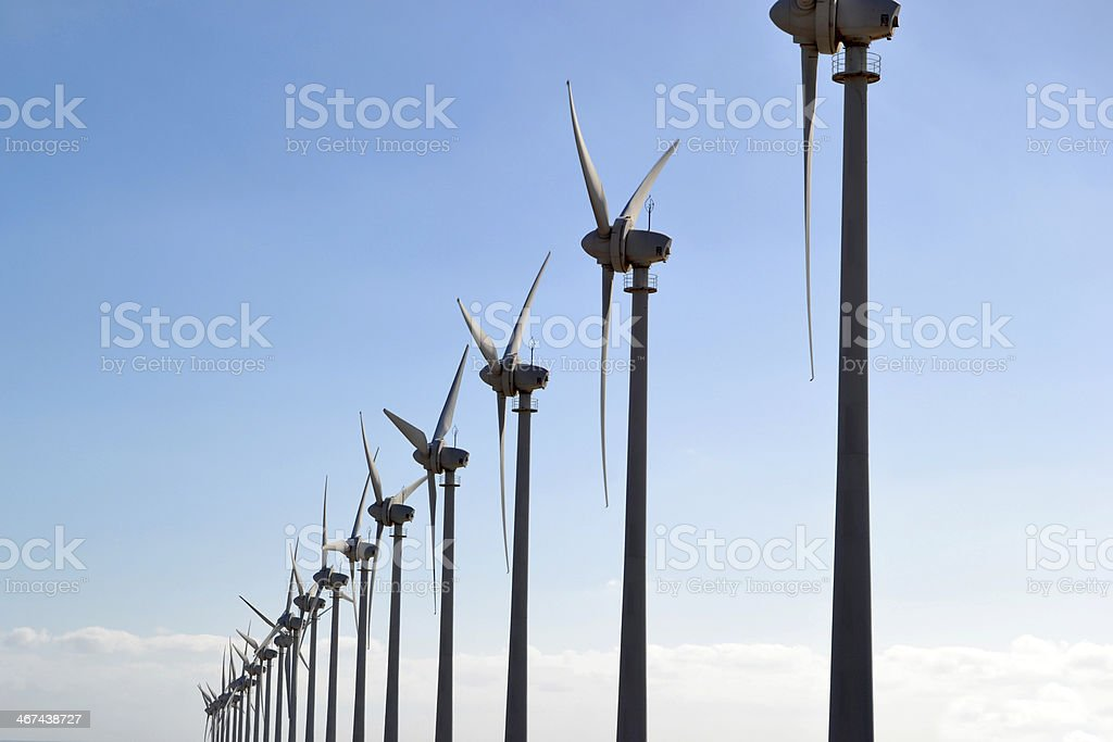 Windmills with blue sky background stock photo