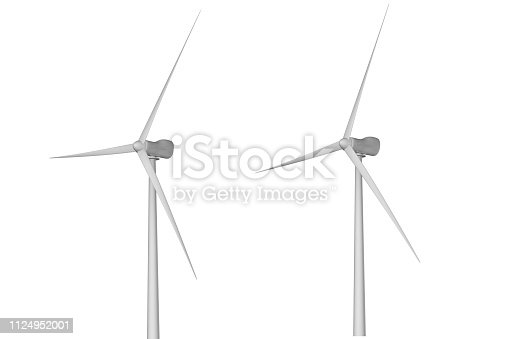 Two windmills with different rotation angles isolated on white background - wind power industrial illustration, 3D illustration