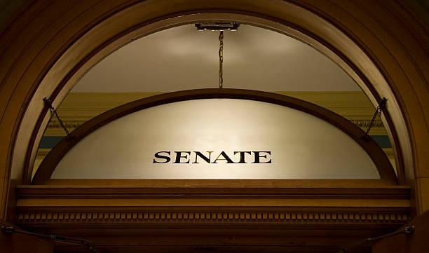 Window above senate chambers stock photo