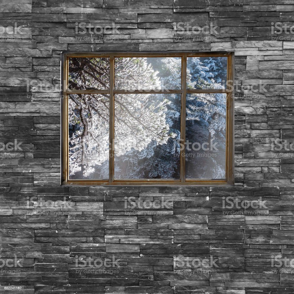 window and brick wall with Huangsan moutain range nature view. stock photo