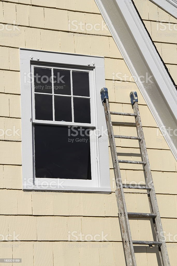 Window and Ladder stock photo