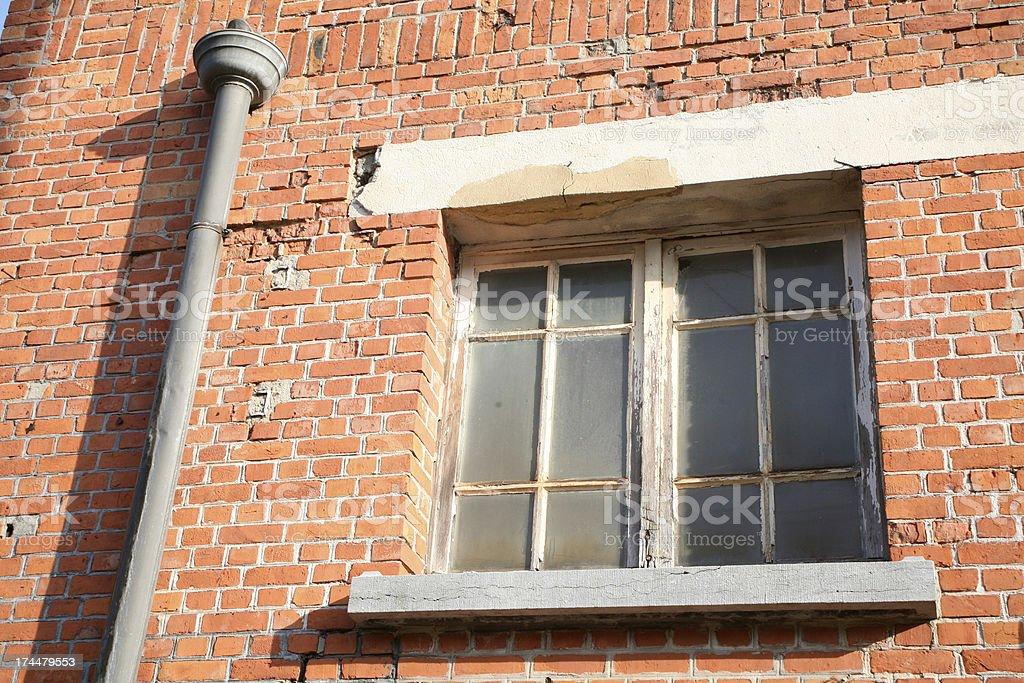 Window and rainpipe stock photo