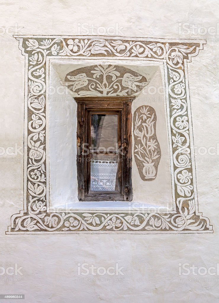 Window and sgraffito stock photo