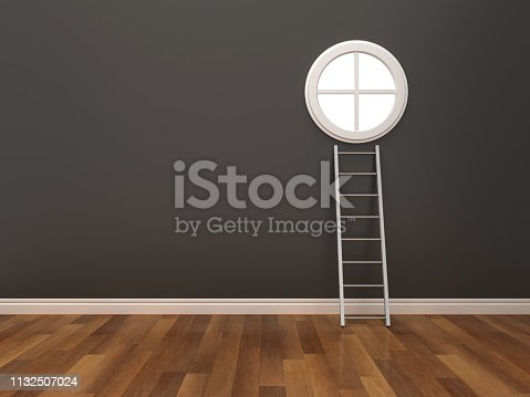 Window and Stair in Empty Room - 3D Rendering