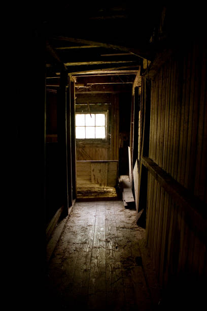 Window and Trapdoor at the End stock photo