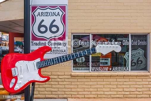 winslow Arizona, USA 5/16/2016. Route 66 sipp  shoppe outside guitar at the Bank building 1904