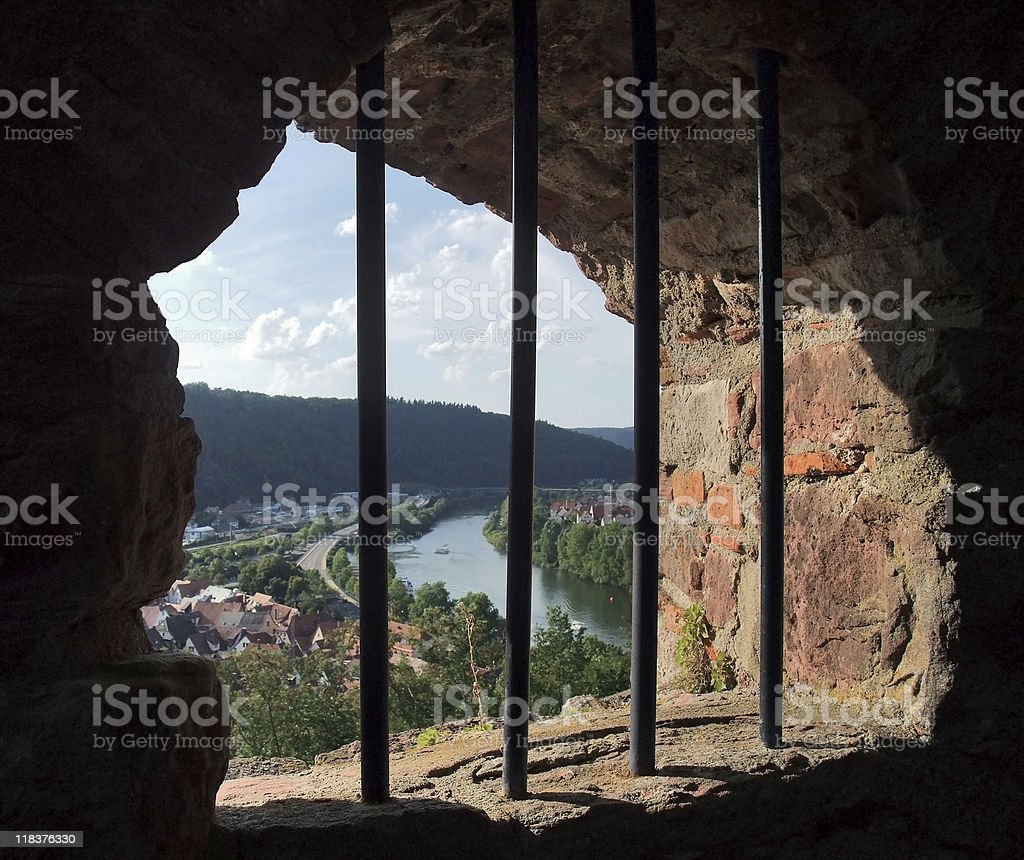 window at Wertheim Castle royalty-free stock photo