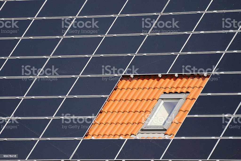 Window between solar cells royalty-free stock photo