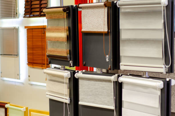 Window blinds for sale in the store. stock photo