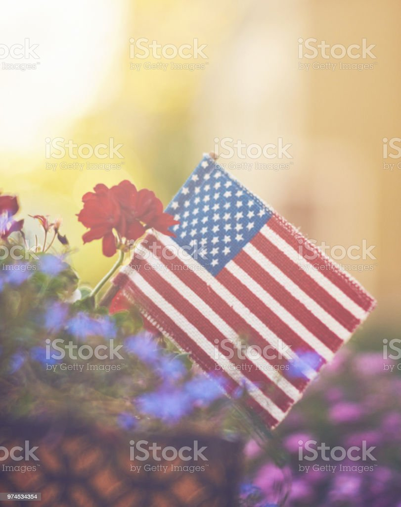 Window box with American flag and flowers in sunshine