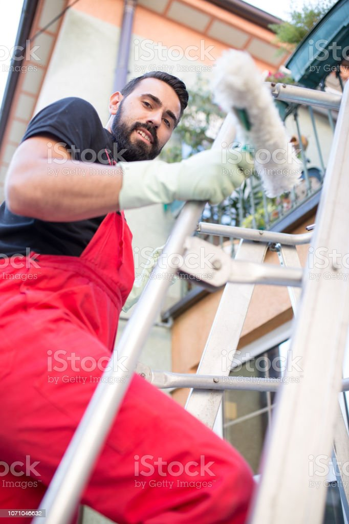 Window cleaner on his job stock photo