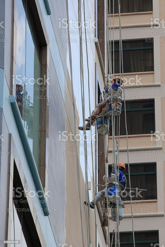 window cleaning on skyscraper royalty-free stock photo