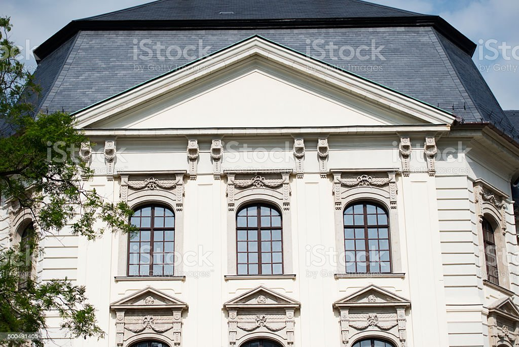window decor of the facade of the building in culturl traditioans stock photo