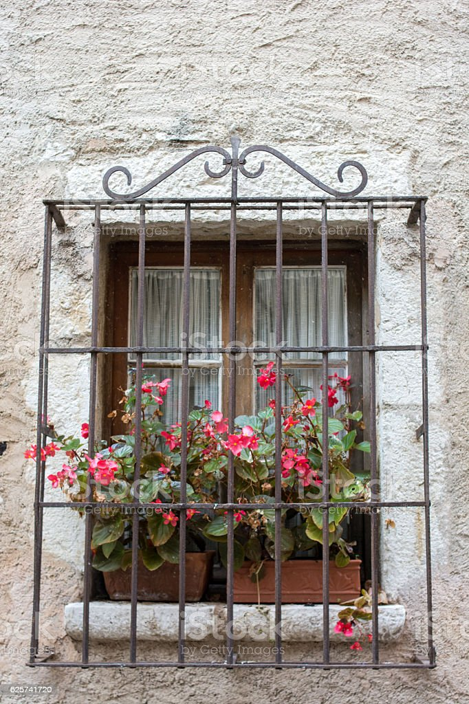 Window decorated. Vibrant Colorful Red flower stock photo