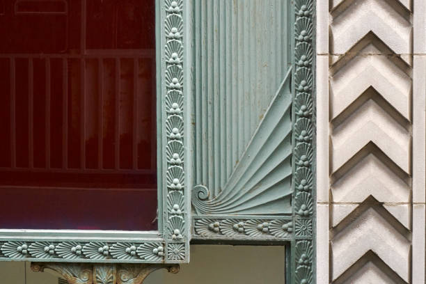 Window detail red glass and ornate borders stock photo