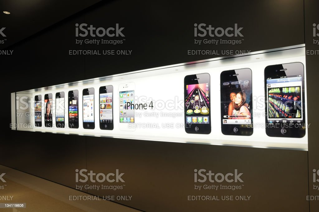 Window display of iphone royalty-free stock photo