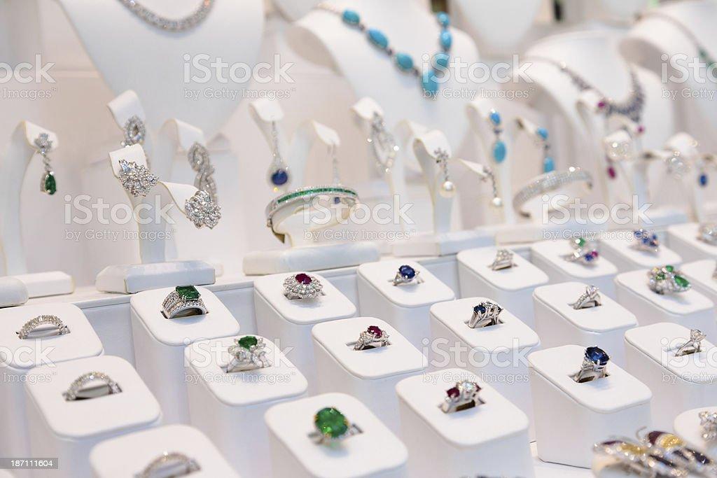Window display of jewelry with precious stones stock photo