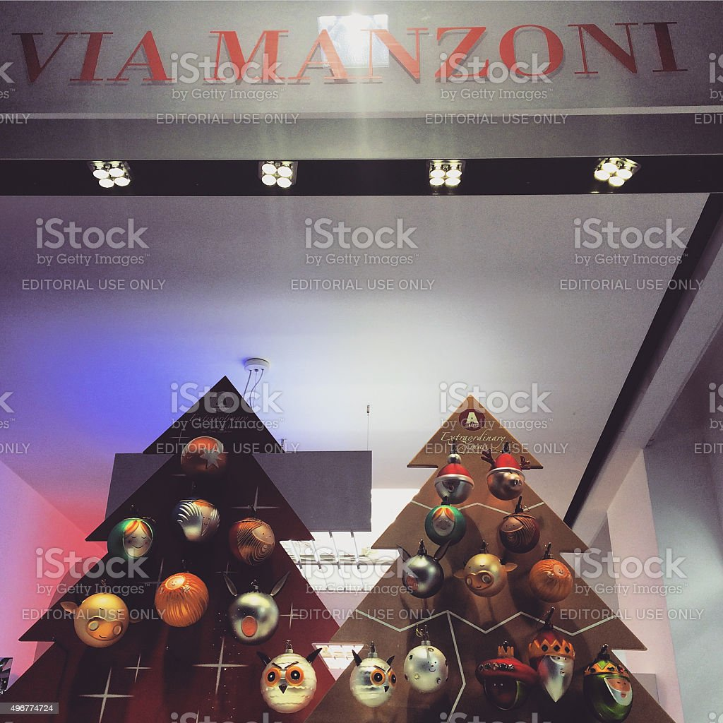 Window Display Of Store With Xmas Decorations Milan Stock