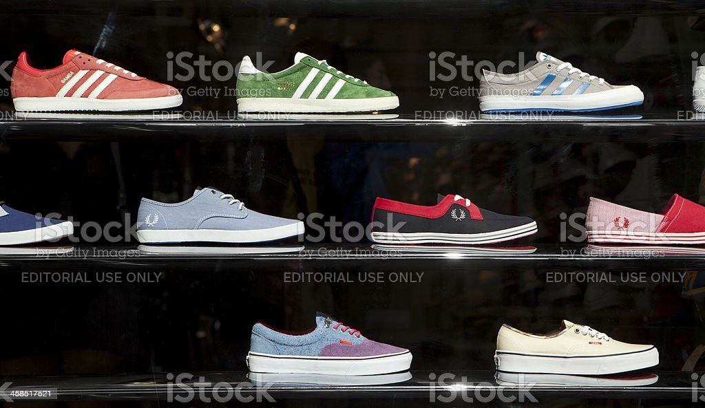Window display, trainers. stock photo