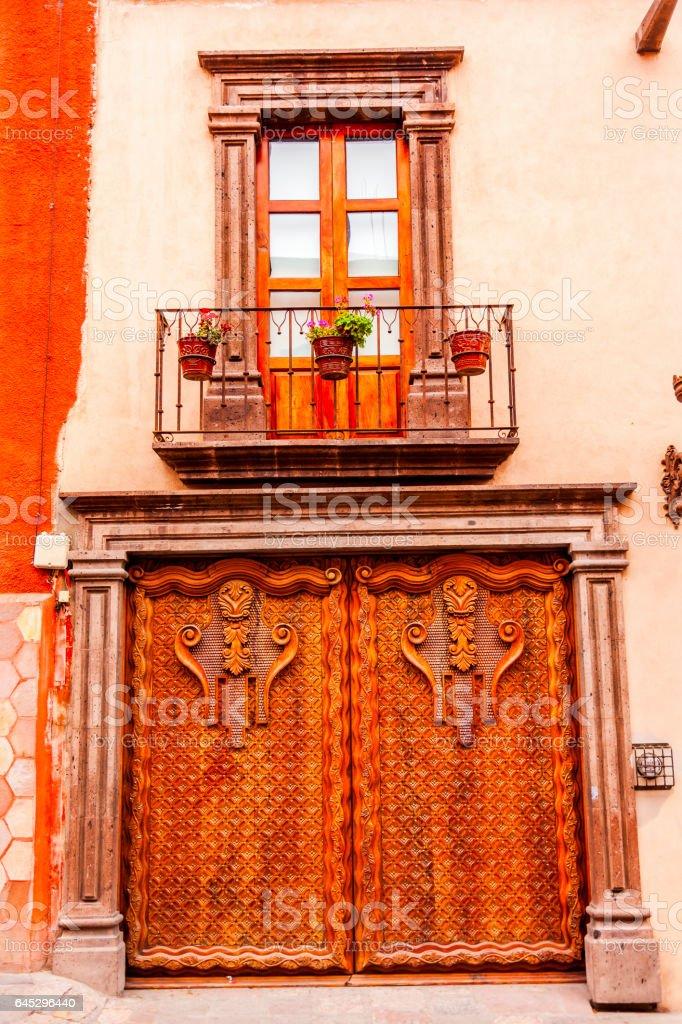 Window Facade Brown Wooden Door San Miguel de Allende Mexico stock photo