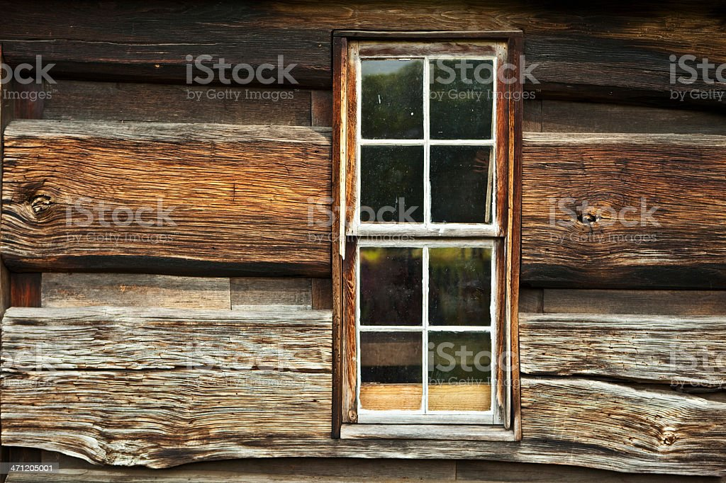 Window in a 19th Century Log Cabin royalty-free stock photo