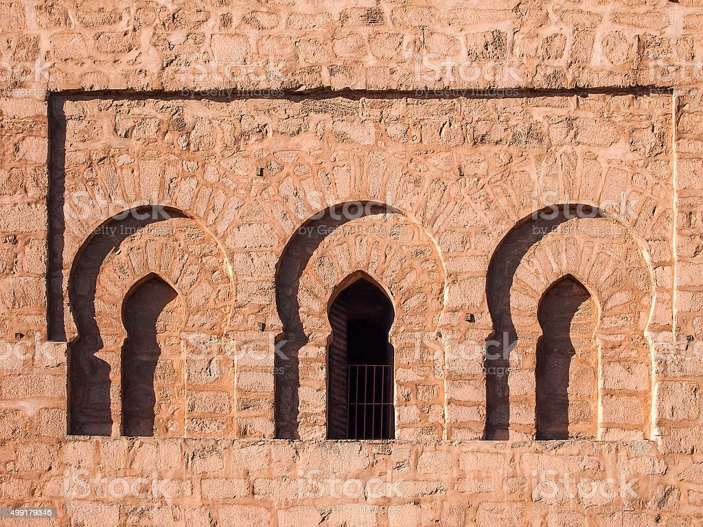 Window in a mosque in Morocco. stock photo