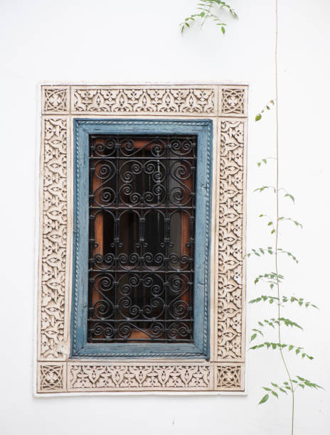 Window in a restored riad, Marrakesh, Morocco stock photo