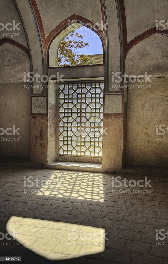 Window in a room - Ali Qapu Palace, Esfahan, Iran royalty-free stock photo