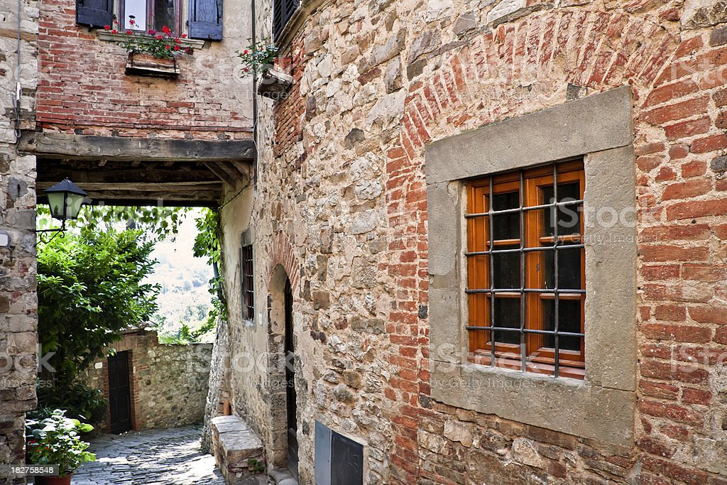 Window in Ancient Tuscan Village, Chianti Region royalty-free stock photo
