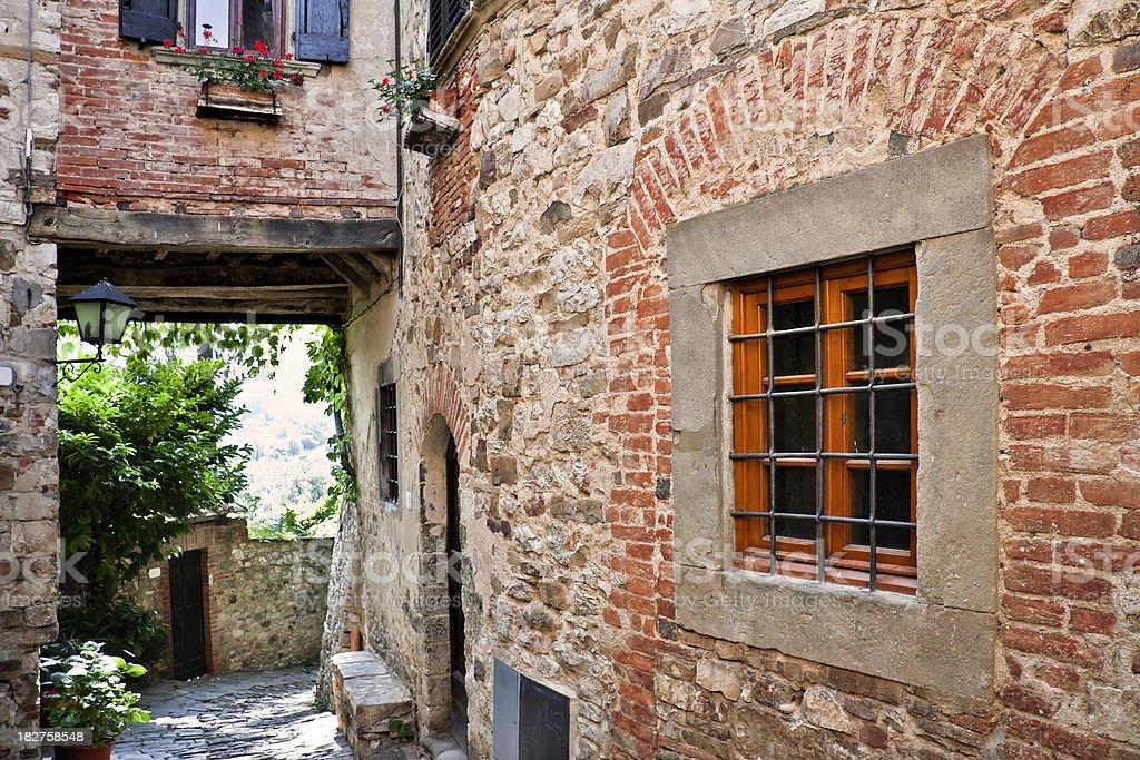 Window in Ancient Tuscan Village, Chianti Region stock photo