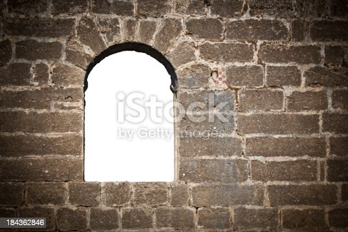 Window in brick wall with clipping path XXXL