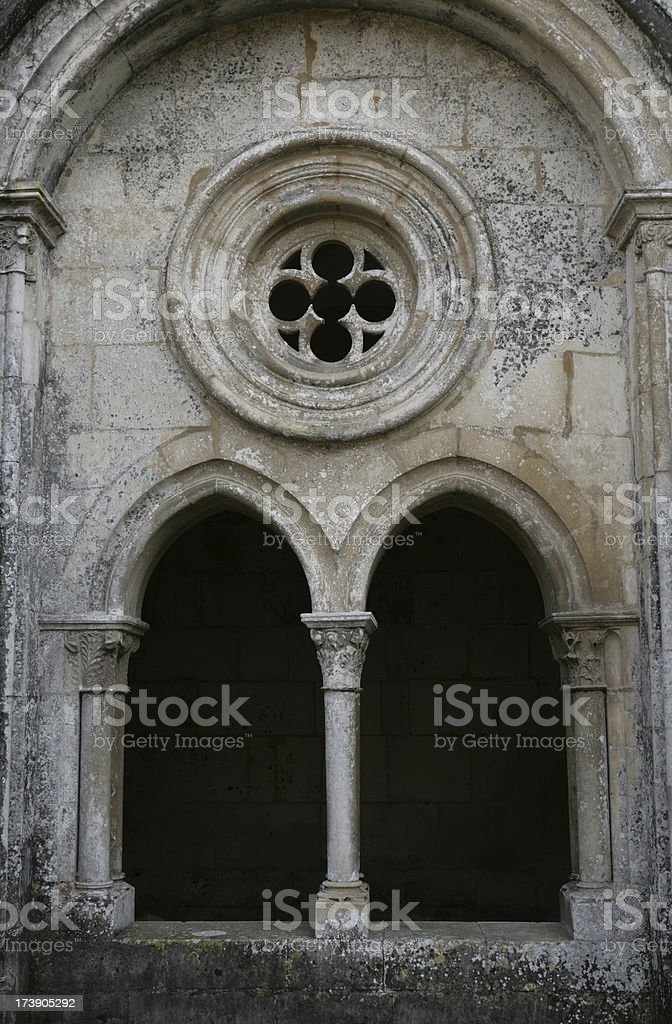 window in medieval Monastery of Alcobaca, central Portugal royalty-free stock photo