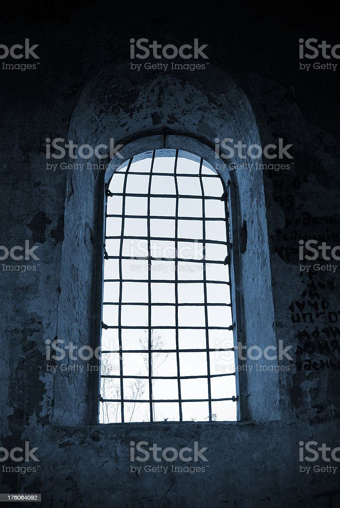window in old church stock photo