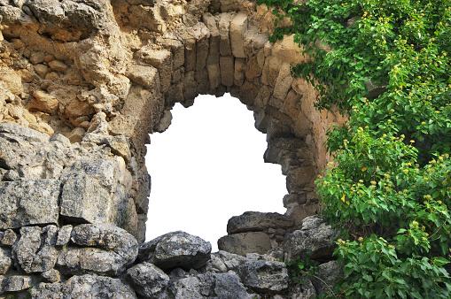 Window in ruins citadel on top of mountain Mangup Kale