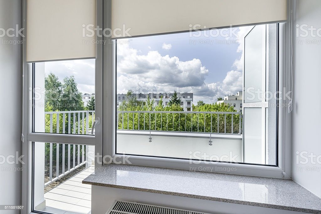 Window in small, economic room stock photo